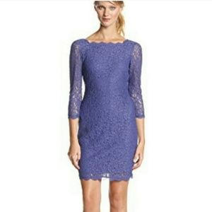 Adrianna Papell Periwinkle lace dress 3/4 sleeve